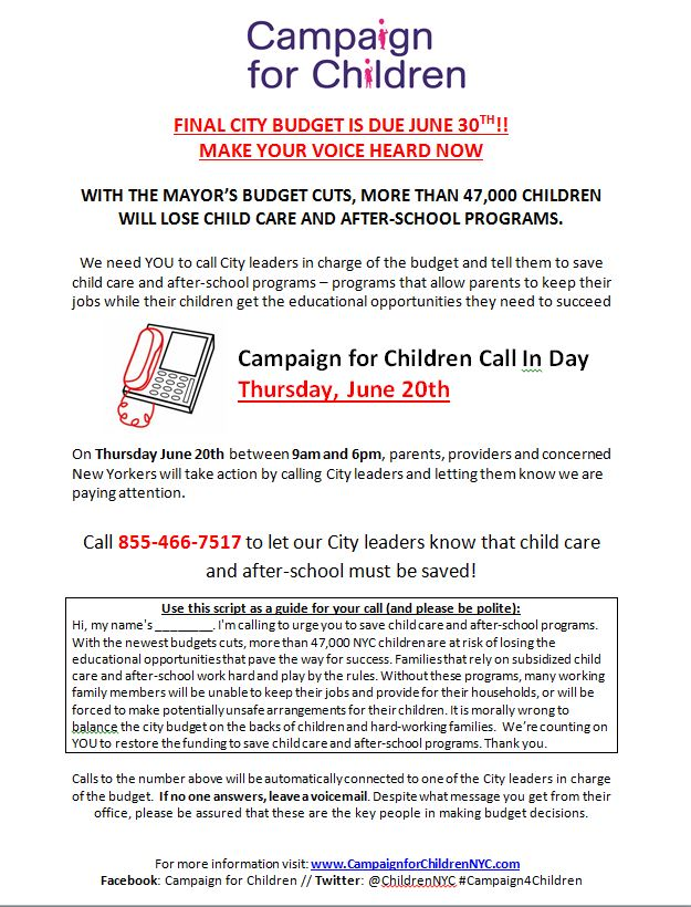 Campaign for Children NYC » Thurs June 20th: Final City-Wide