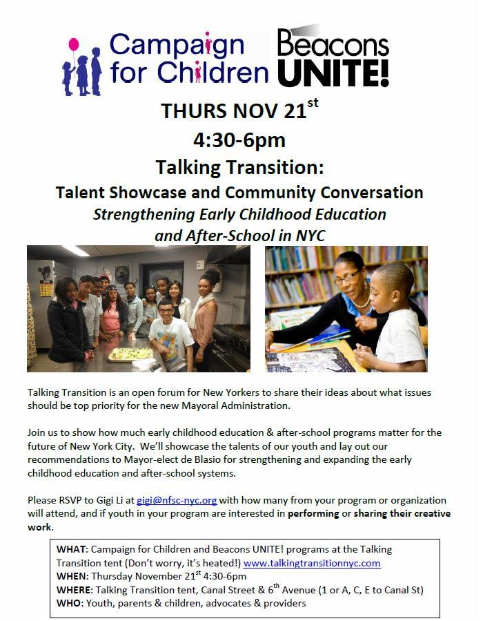 Flyer for Talking Transition